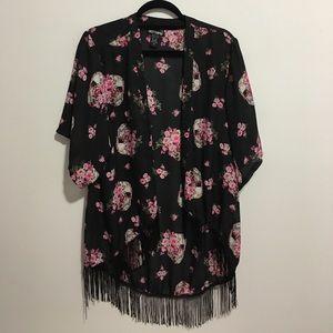 Black 💀 floral fringe kimono